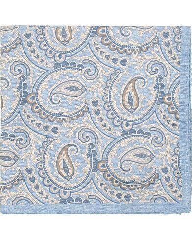 Amanda Christensen Silk Oxford Printed Paisley Pocket Square Light Blu