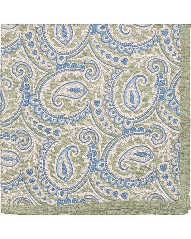 Amanda Christensen Silk Oxford Printed Paisley Pocket Square Green