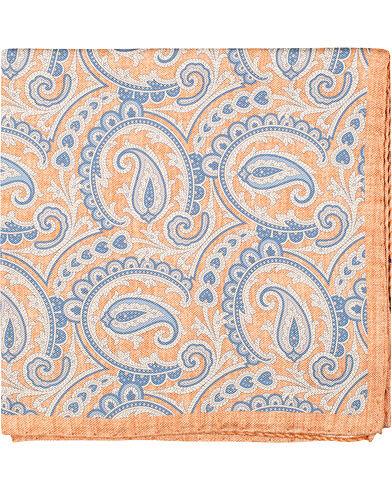 Amanda Christensen Silk Oxford Printed Paisley Pocket Square Peach