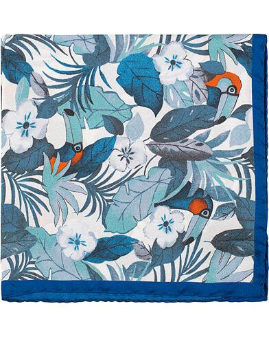 Amanda Christensen Silk Twill Printed Jungle Pocket Square Blue