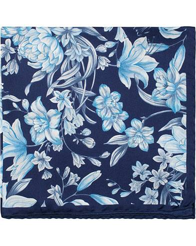 Amanda Christensen Silk Twill Printed Large Flowers Pocket Square Navy