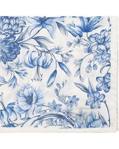 Amanda Christensen Silk Twill Printed Large Flowers Pocket Square Whit