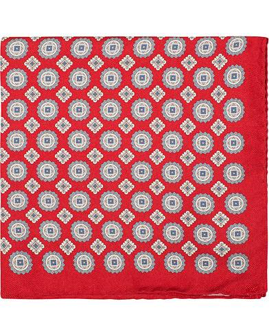 Amanda Christensen Silk Oxford Printed Medallion Pocket Square Red