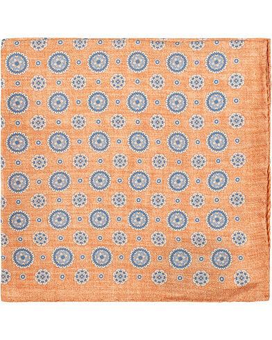 Amanda Christensen Silk Oxford Melange Printed Medallion Pocket Square