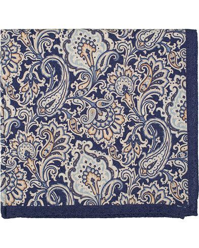 Amanda Christensen Silk Cotton Bourette Printed Paisley Pocket Square