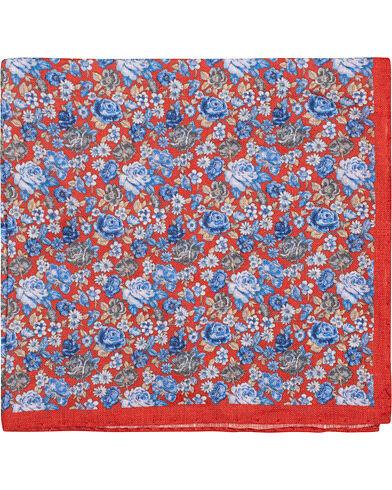 Amanda Christensen Linen Printed Flower Pocket Square Red