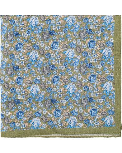 Amanda Christensen Linen Printed Flower Pocket Square Olive