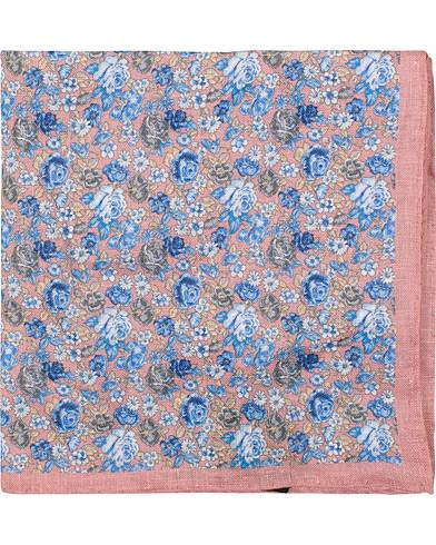 Amanda Christensen Linen Printed Flower Pocket Square Pink