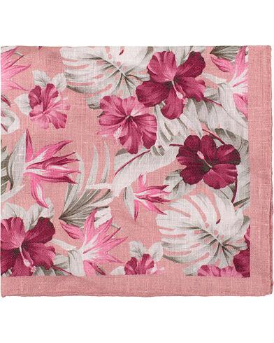 Amanda Christensen Linen Printed Leaf Flowers Pocket Square Pink