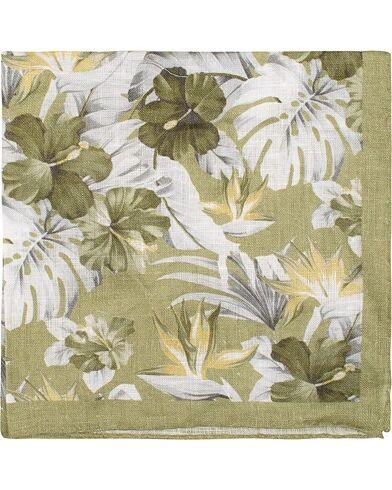 Amanda Christensen Linen Printed Leaf Flowers Pocket Square Olive