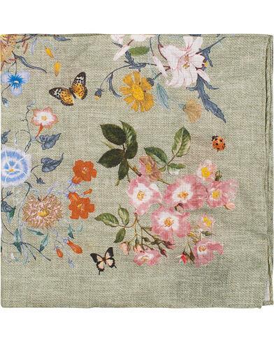 Amanda Christensen Linen Printed Flower Bugs Pocket Square Olive