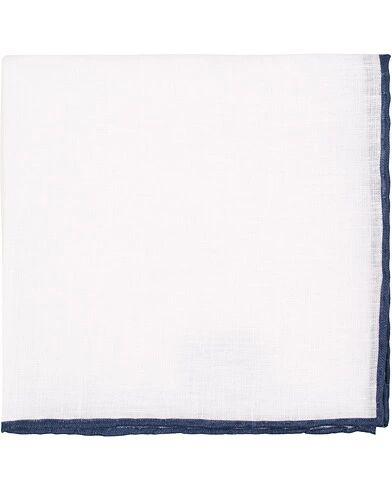 Amanda Christensen Linen Melange Handrolled Pocket Square Blue/White