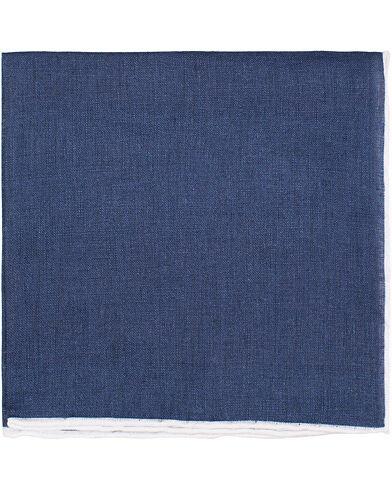Amanda Christensen Linen Melange Handrolled Pocket Square White/Navy