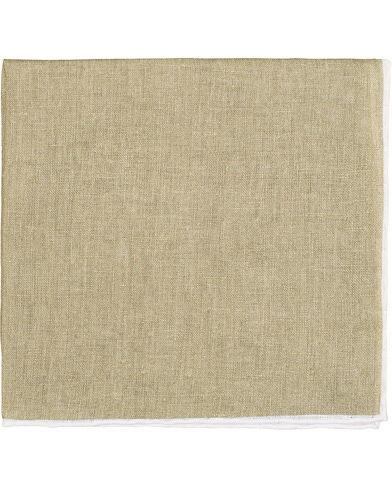 Amanda Christensen Linen Melange Handrolled Pocket Square White/Olive