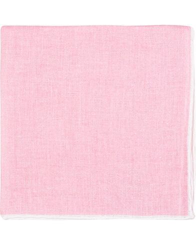 Amanda Christensen Linen Melange Handrolled Pocket Square White/Pink