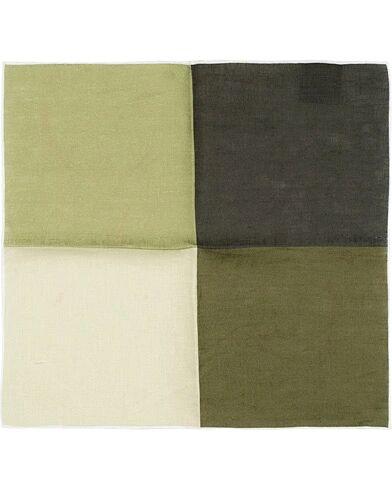 Amanda Christensen Linen Four Face Handrolled Pocket Square Green