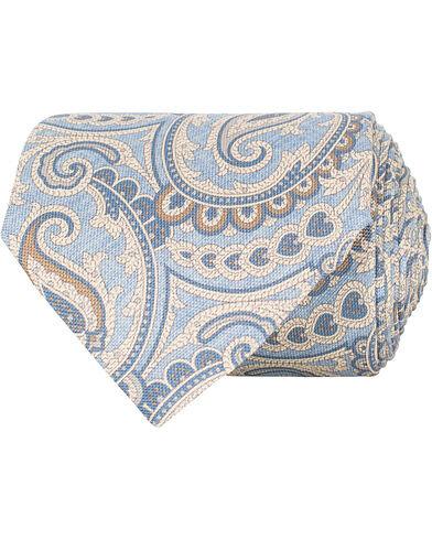 Amanda Christensen Silk Oxford Printed Paisley 8 cm Tie Light Blue