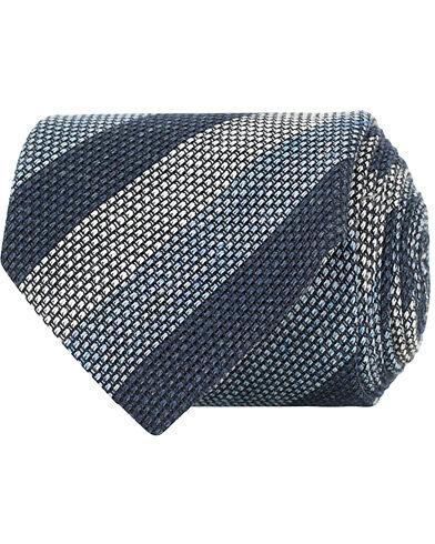 Amanda Christensen Linen/Silk Melange Grenadine Striped 8 cm Tie Navy/