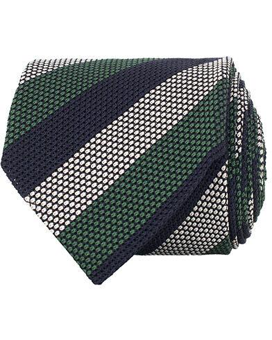 Amanda Christensen Silk Grenadine Striped 8 cm Tie Navy/Green/White