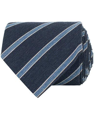 Amanda Christensen Cotton/Silk Melange Striped 8 cm Tie Navy/Light Blu