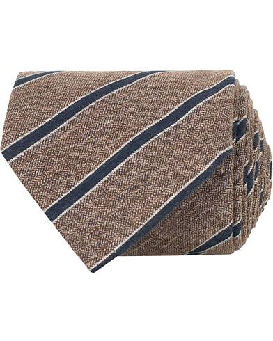 Amanda Christensen Cotton/Silk Melange Striped 8 cm Tie Brown/Navy