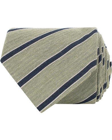 Amanda Christensen Cotton/Silk Melange Striped 8 cm Tie Green/Navy