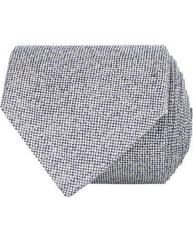 Amanda Christensen Linen/Silk/Cotton 8 cm Tie Navy