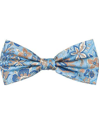Amanda Christensen Silk Twill Printed Large Flower Bow Tie Light Blue