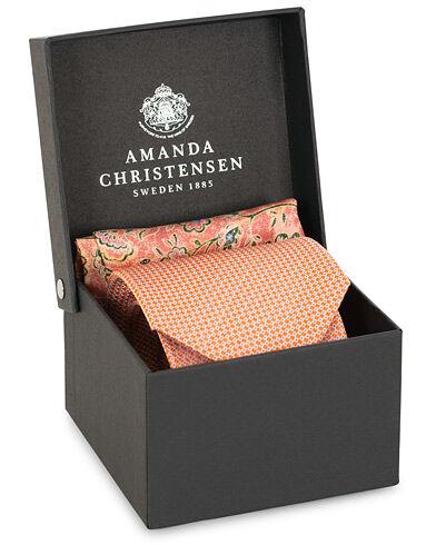 Amanda Christensen Box Set Silk Dot 8 cm Tie With Flower Pocket Square