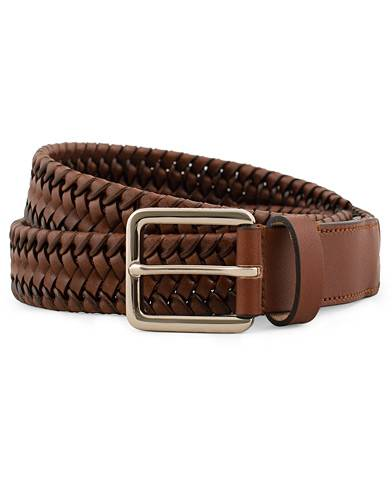 Tiger of Sweden Braidant Braided Stretch Leather Belt  Brown