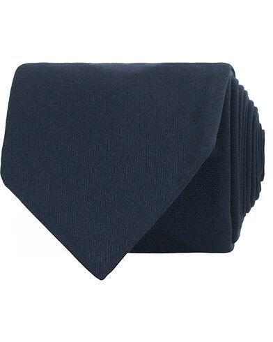 Berg&Berg Handrolled Seven Fold Wool 8 cm Tie Navy
