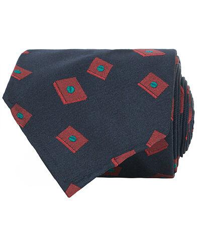 Berg&Berg Handrolled Seven Fold Jacquard Silk 8 cm Tie Navy/Red