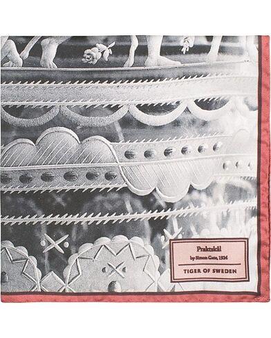 Tiger of Sweden Pent Printed Silk Pocket Square Grey