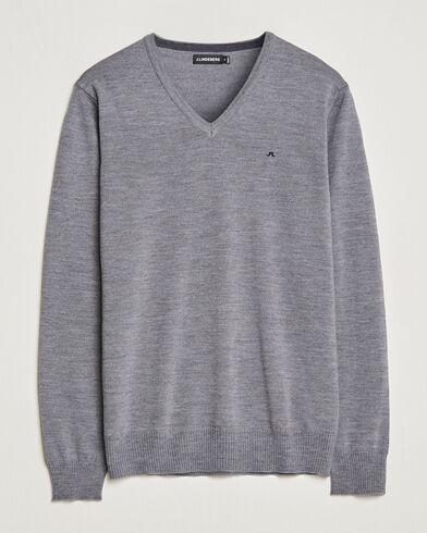 J.Lindeberg Lymann True Merino V-Neck Pullover Grey