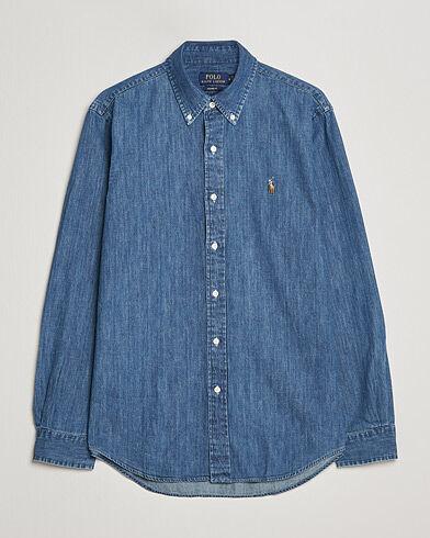 Image of Ralph Lauren Custom Fit Shirt Denim Dark Wash