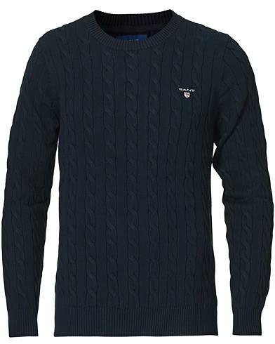 Gant Cotton Cable Crew Neck Pullover Evening Blue