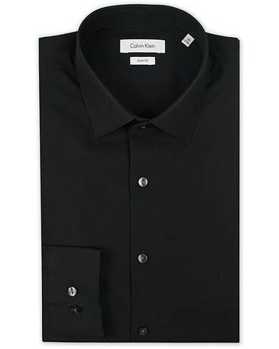 Image of Calvin Klein Bari Slim Fit Stretch Poplin Shirt Black