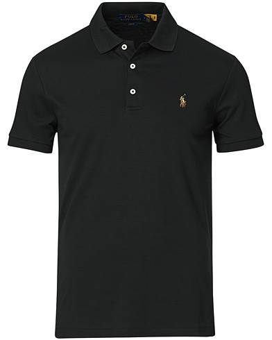 Image of Ralph Lauren Slim Fit Pima Cotton Polo Polo Black