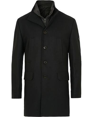 J.Lindeberg Gavin Stand Up Collar Compact Melton Coat Black