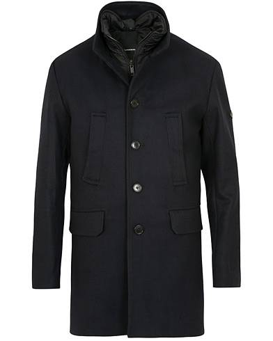 J.Lindeberg Gavin Stand Up Collar Compact Melton Coat Navy