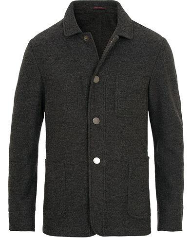 The Gigi Carmel Wool Shirt Jacket  Charcoal Grey