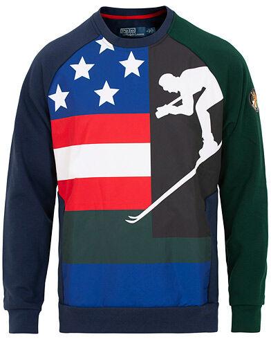 Ralph Lauren Hybrid Crew Neck Flag/Ski Sweater Newport Navy
