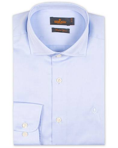 Morris Dean Spread Collar Cotton Shirt Light Blue