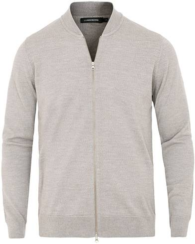 J.Lindeberg Lyam True Merino Full Zip Light Grey Melange