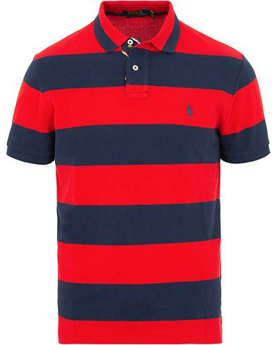 Ralph Lauren Custom Slim Fit Stripe Polo Red/Newport Navy