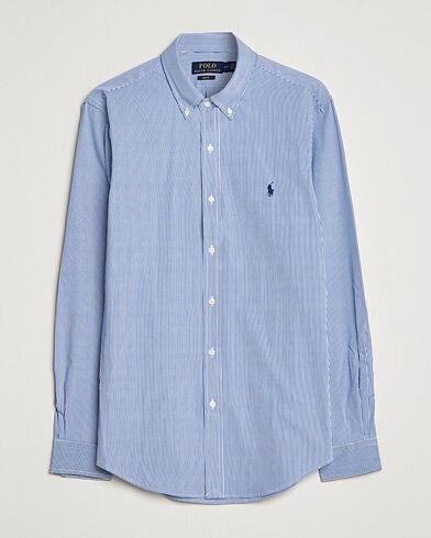 Image of Ralph Lauren Slim Fit Thin Stripe Poplin Shirt Blue/White