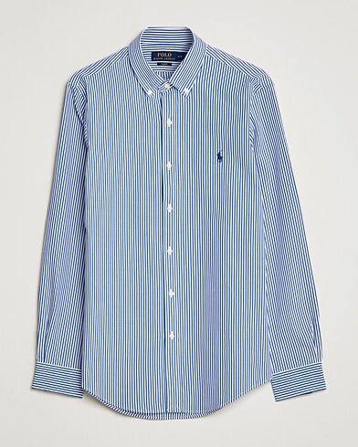 Image of Ralph Lauren Slim Fit Big Stripe Poplin Shirt Blue/White
