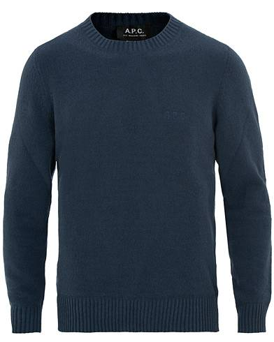 A.P.C Micka Terry Knitted Crew Neck Dark Navy