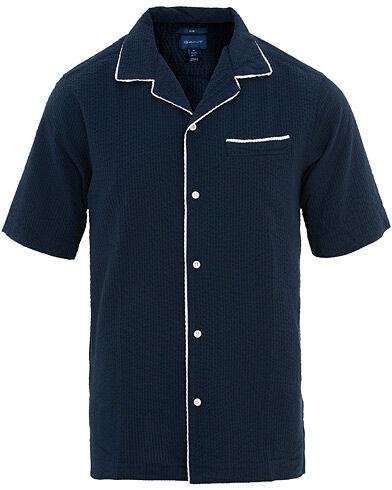 Gant Regular Fit Seersucker Riviera Short Sleeve Shirt Blue