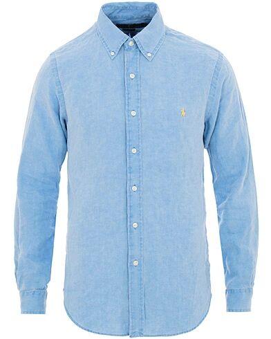 Ralph Lauren Slim Fit Linen Shirt Riviera Blue